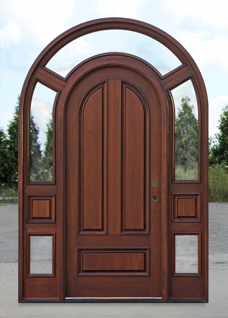 Arched top exterior doors with surround model 3003 for Exterior door with round window