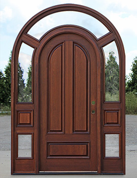 round top door with surround and clear glass