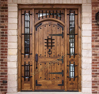 Alder doors rustic exterior arch top doors for Door design catalogue in india