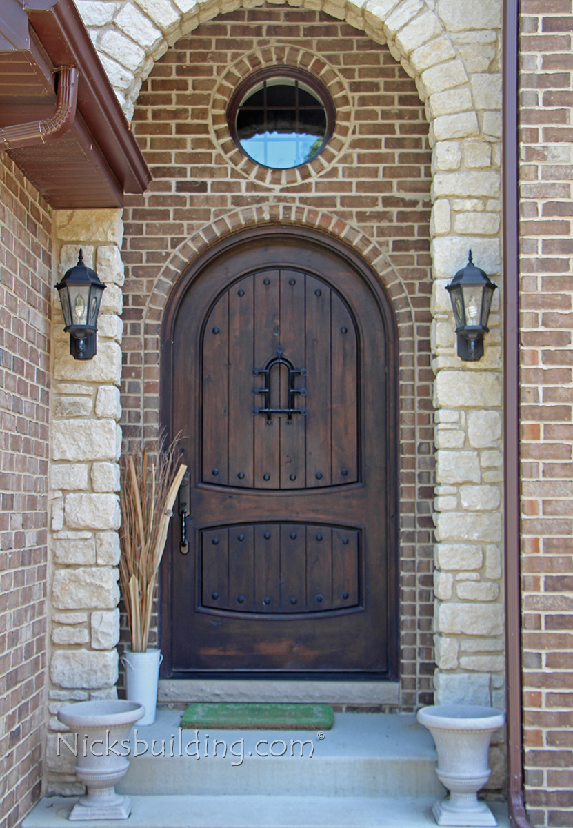 Rustic round top exterior door sonoma for Arch door design