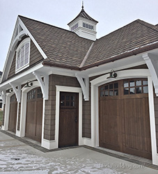 Cedar Overhead Garage Doors on Craftsman Home in Grand Rapids Michigan