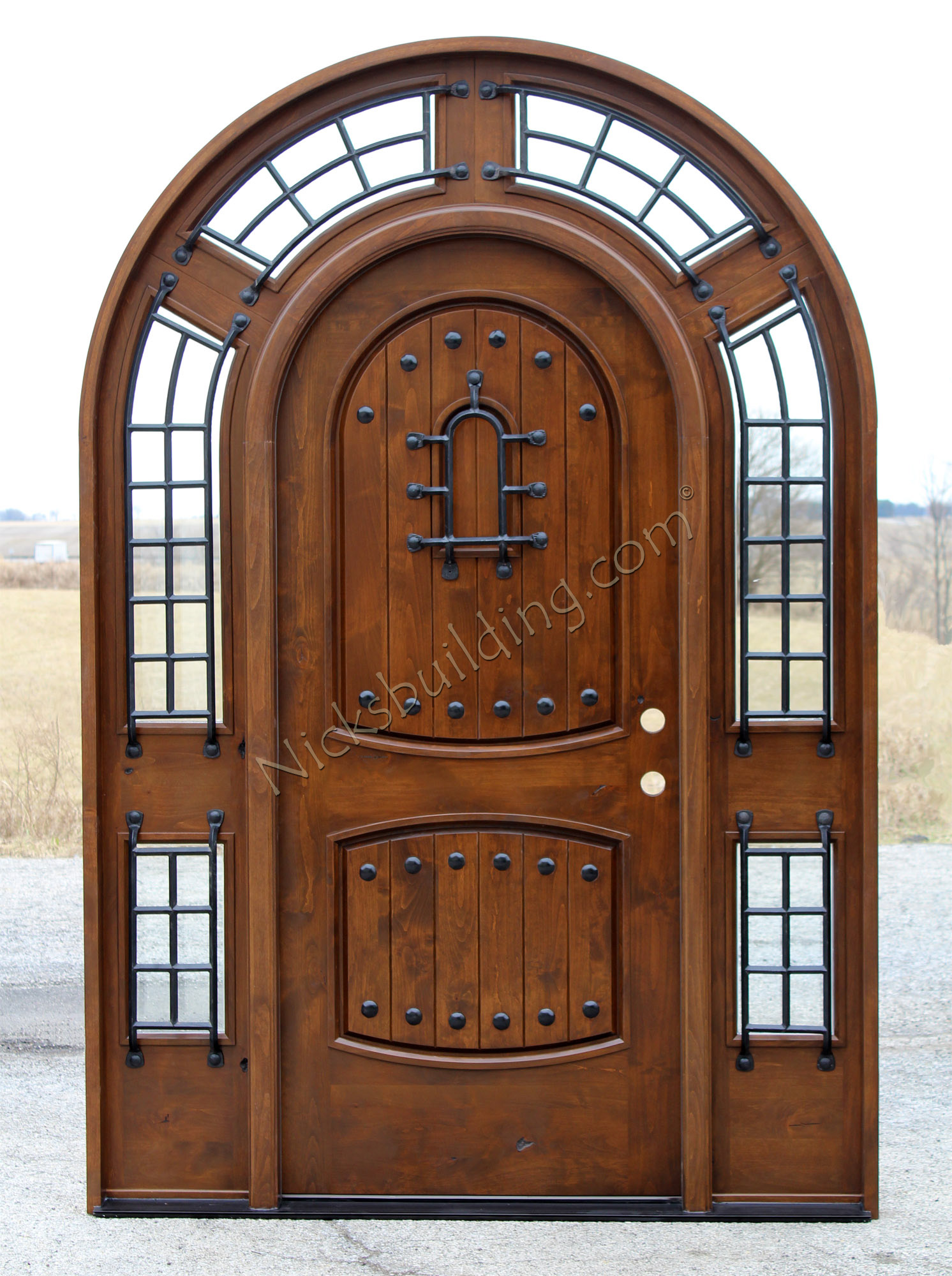 2000 #6D3D24 Round Top Door Pompano Door Stained.jpg image Arched Wood Entry Doors 40831492