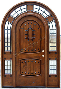 Rustic Round Top Door with surround transom The Pompano