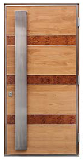 modern entry doorwith burl wood