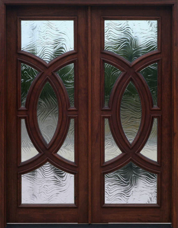 Mahogany exterior double door olympus baroque glass for Wood and glass front entry doors