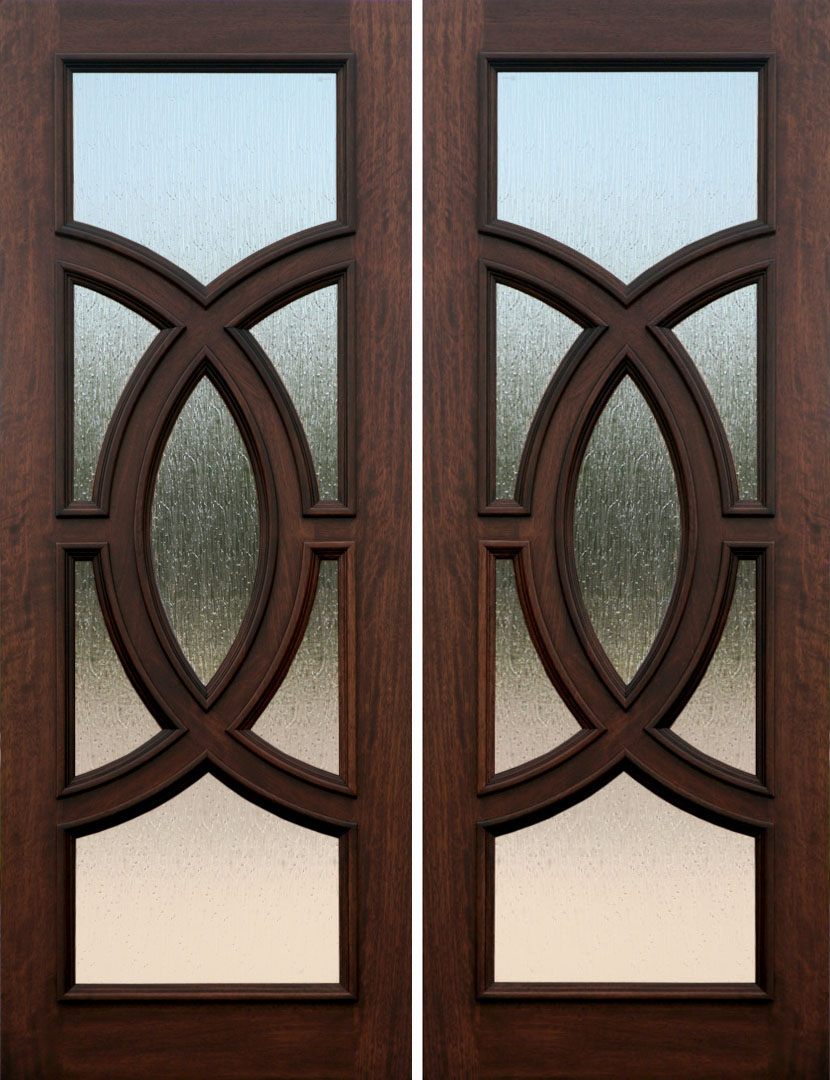 Mahogany exterior double door olympus rain glass ebay for Double wood doors with glass