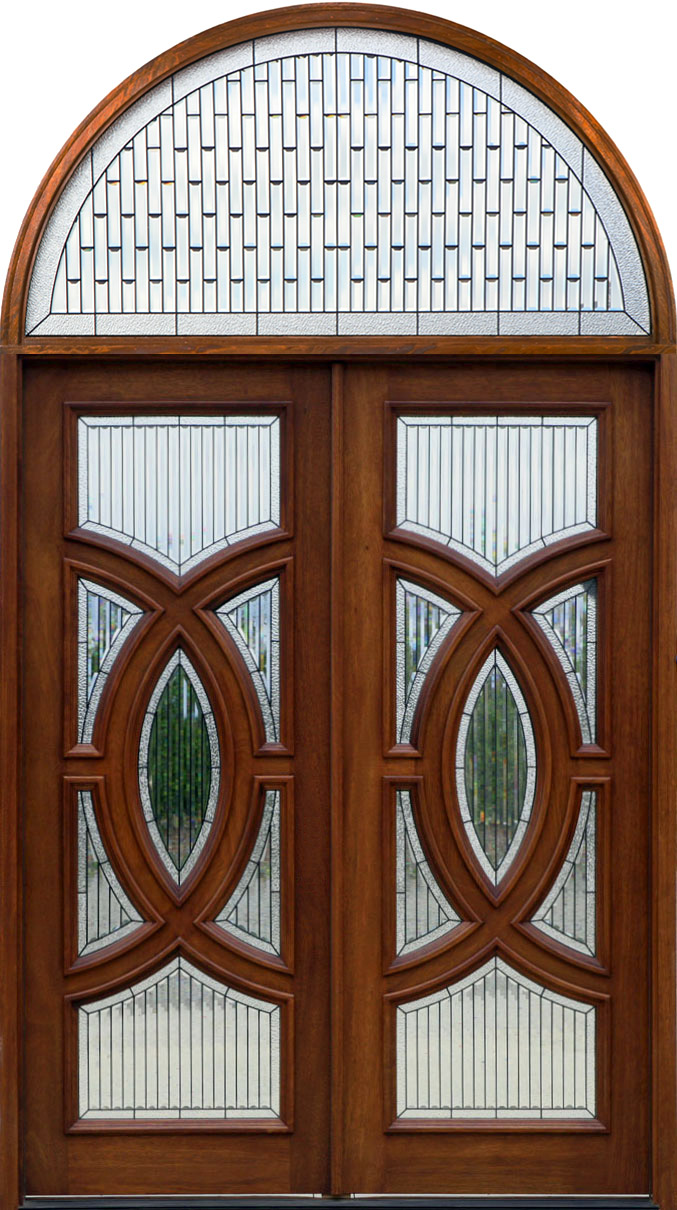 Round top pre hung mahogany doors top of the line - Arched Transom Over Double Door