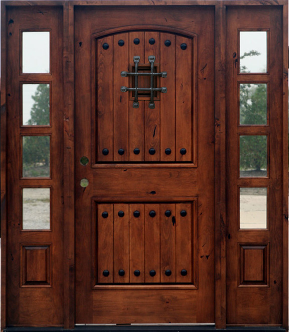 Popular exterior rustic doors with 2 sidelights for High end exterior doors