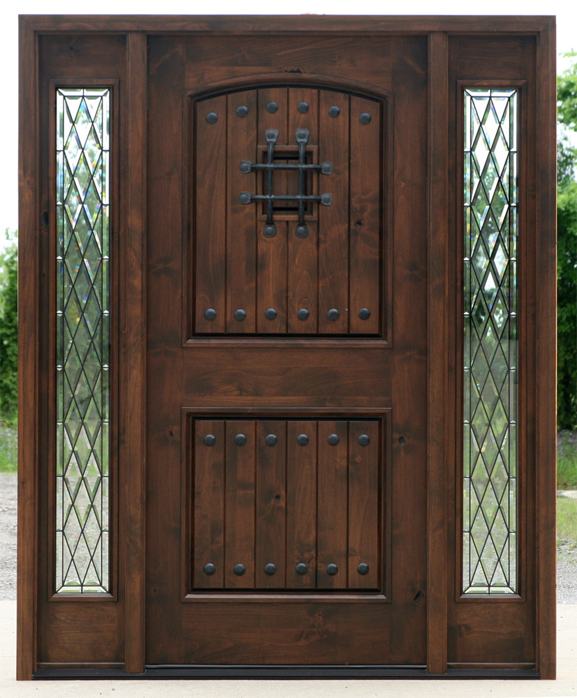 English Tudor Style Glass enhances the Rustic nature of the 8u0027 0  Rustic ... & Popular Exterior Rustic Doors with 2 Sidelights pezcame.com