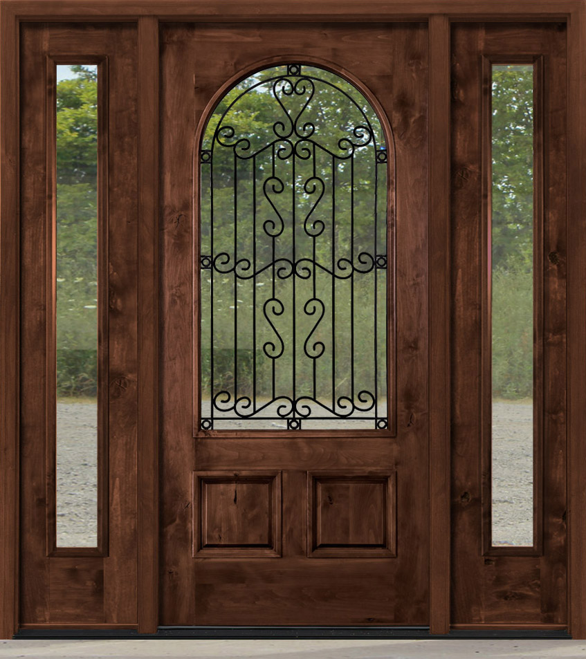 Entry Door with Wrought Iron between Glass