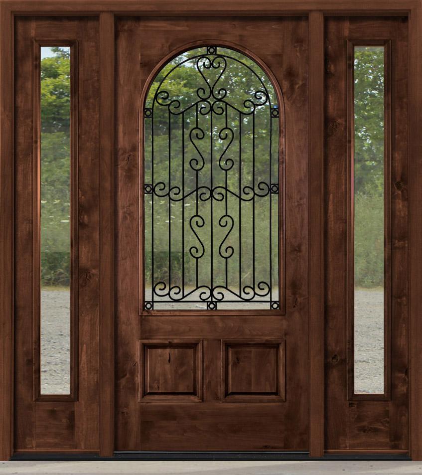 Rustic Entry Door With Wrought Iron Between Glass