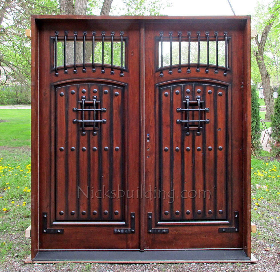 Rustic double front door for Exterior double entry doors