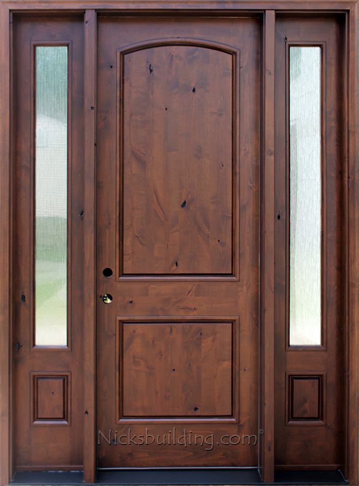 Knotty alder sw 66 with 2 side lights 2 panel rustic exterior door with rain glass sidelights planetlyrics Image collections