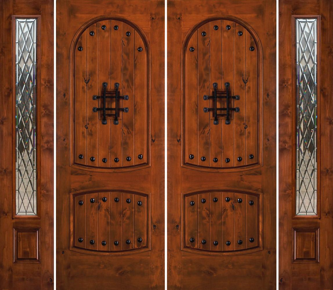 Rustic Double Front Doors: SW-01 Rustic Knotty Alder Exterior Double Doors With