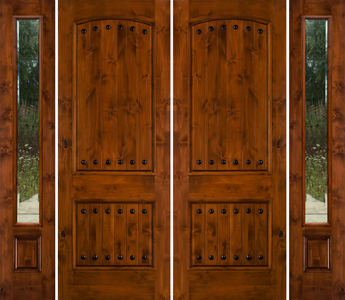 1000 #6F3409 Rustic Double Doors With Sidelights Rustic Knotty Alder pic Rustic Exterior Doors 40311148