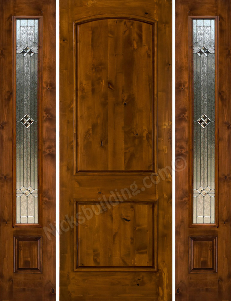 Knotty alder sw 66 with 2 side lights for Entrance doors