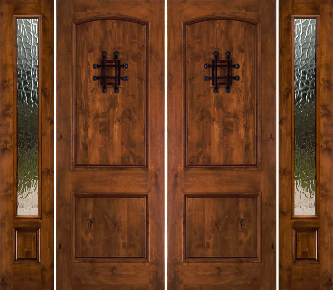 Rustic Double Doors With Sidelights Rustic Exterior Doors