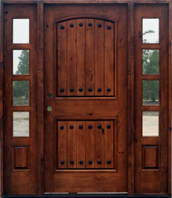 Exterior knotty alder doors 2 sidelights sw62 for Rustic exterior doors