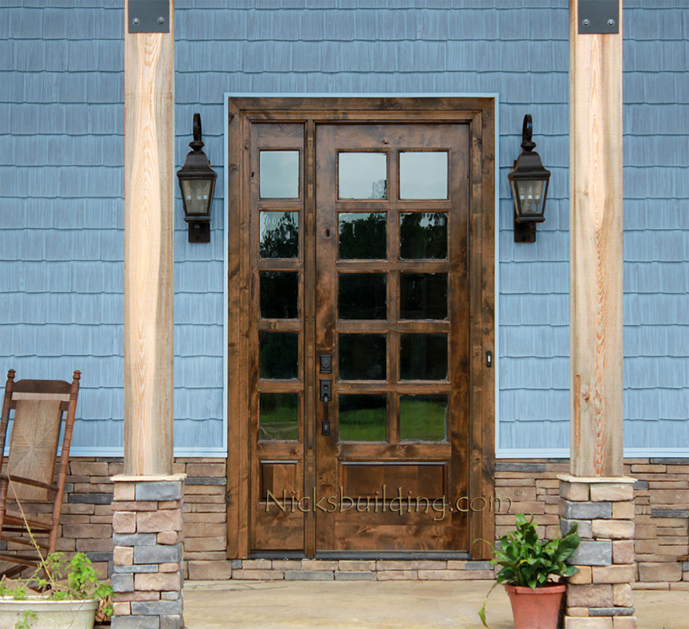 French Exterior: Rustic French Doors With Sidelight