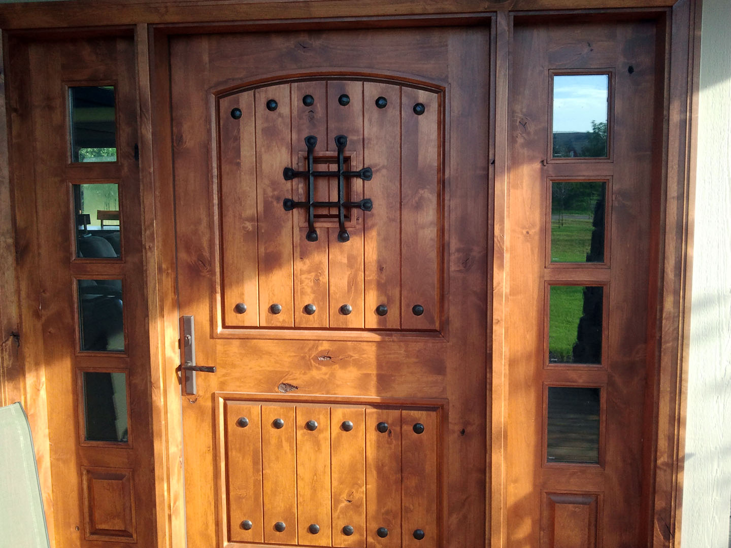 rustic exterior doors with sidelights knotty alder wood