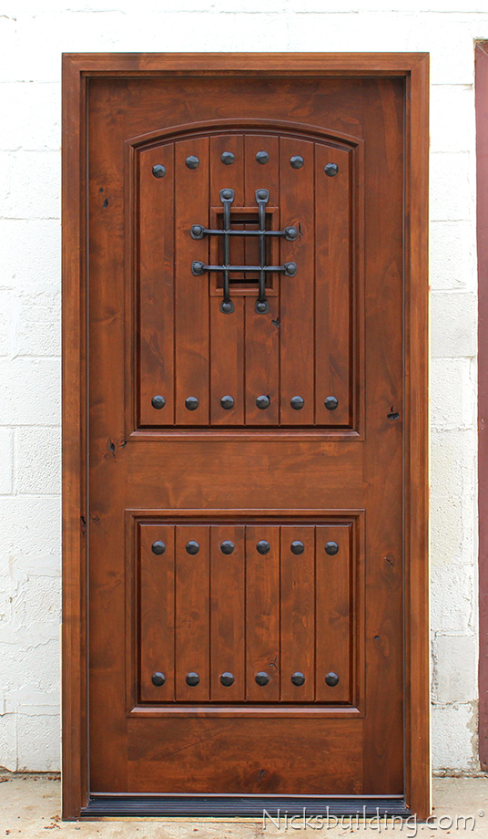 Rustic doors single exterior door knotty alder doors for Knotty alder wood doors