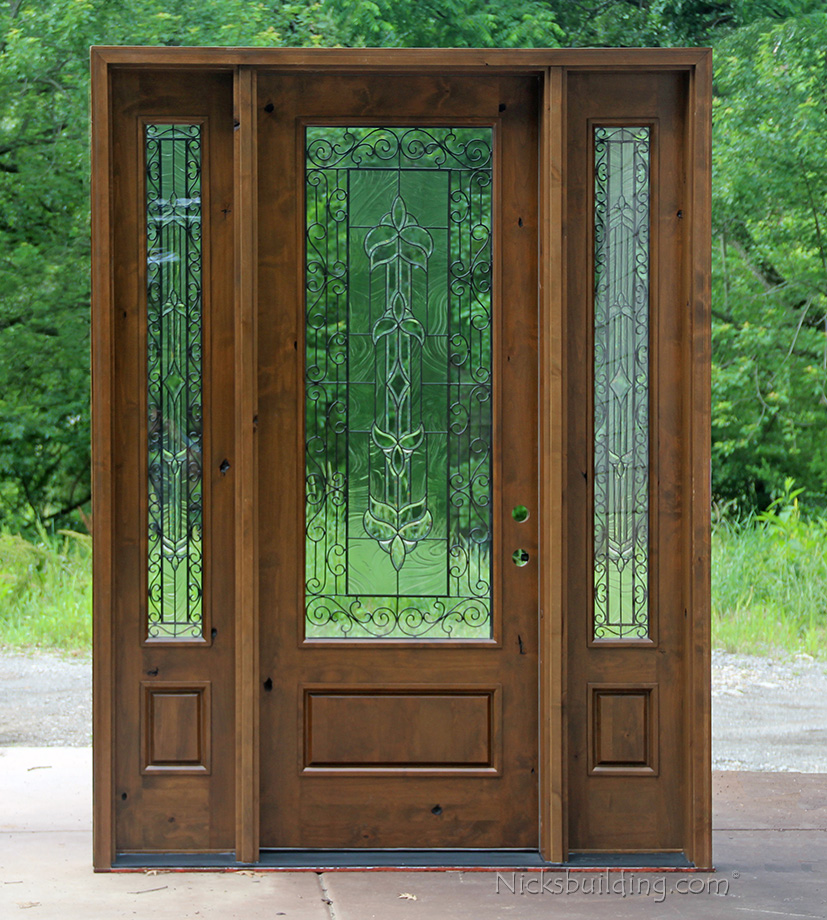 Doors Exterior Glass : Rustic glass doors knotty alder with sidelites sw