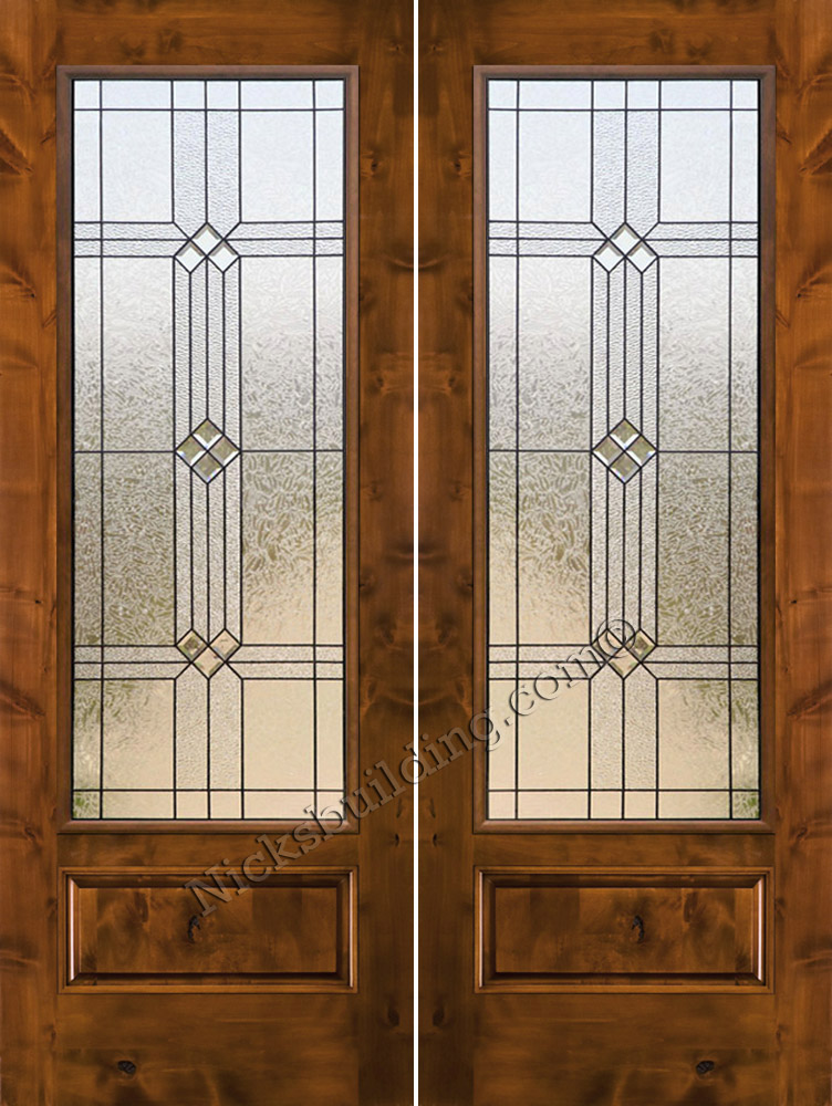 Knotty alder exterior double doors for Double doors with glass
