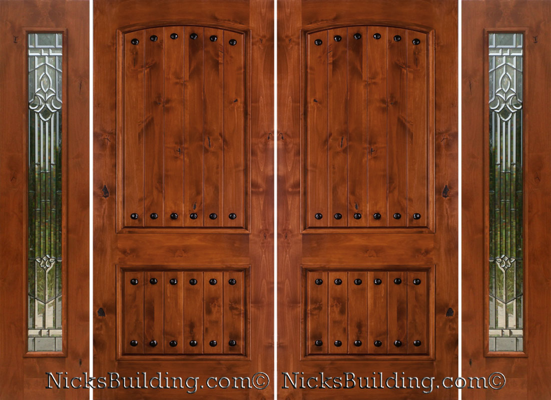 Rustic Double Doors With Sidelights Rustic Knotty Alder