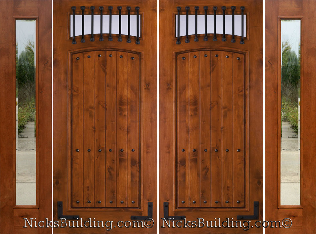 Rustic double doors solid alder double doors with sidelights for Solid wood door construction