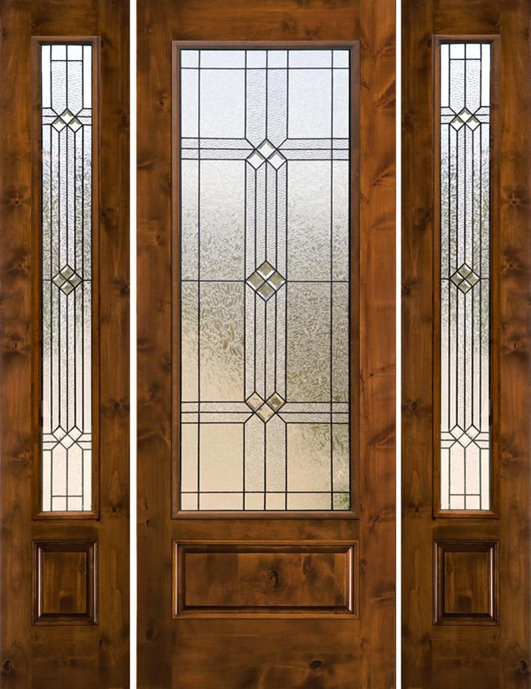 Rustic glass doors knotty alder with 2 sidelites sw250 for Rustic exterior doors