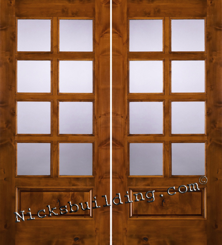Knotty Alder Patio Doors with 8 Lite Clear Glass