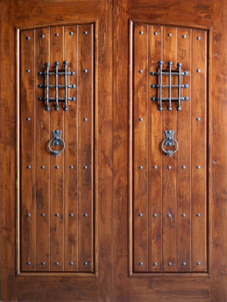 Knotty alder exterior double doors for Wood entry doors