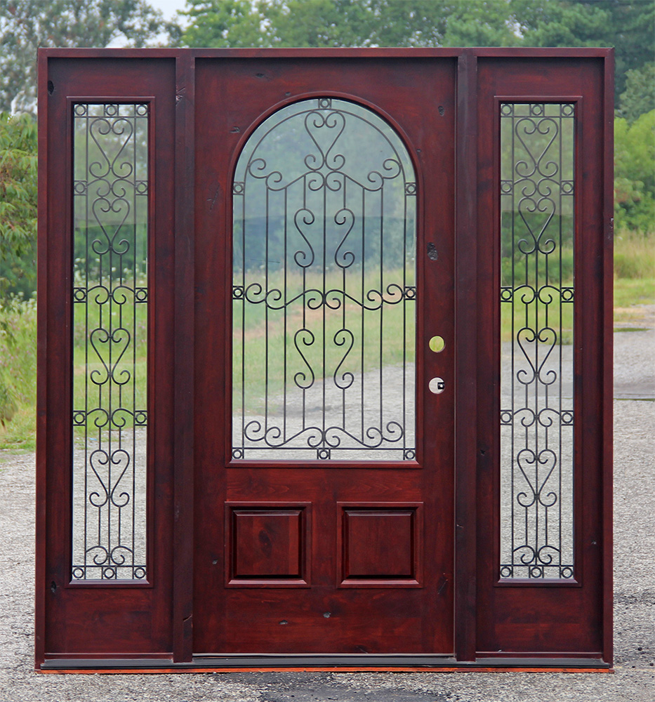 Wood Entry Doors With Gl And Wrought Iron Migrant