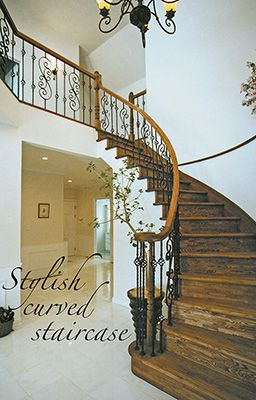 Curved wood staircases