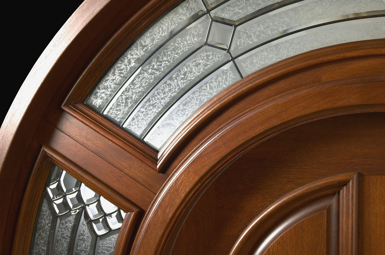 1080 #6E3E1E Exterior Round Top Doors With Arched Transom And Sidelites pic Round Top Exterior Doors 39811626