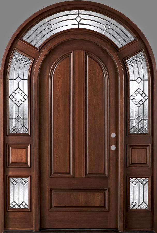 Exterior Round Top Doors With Arched Transom And Sidelites