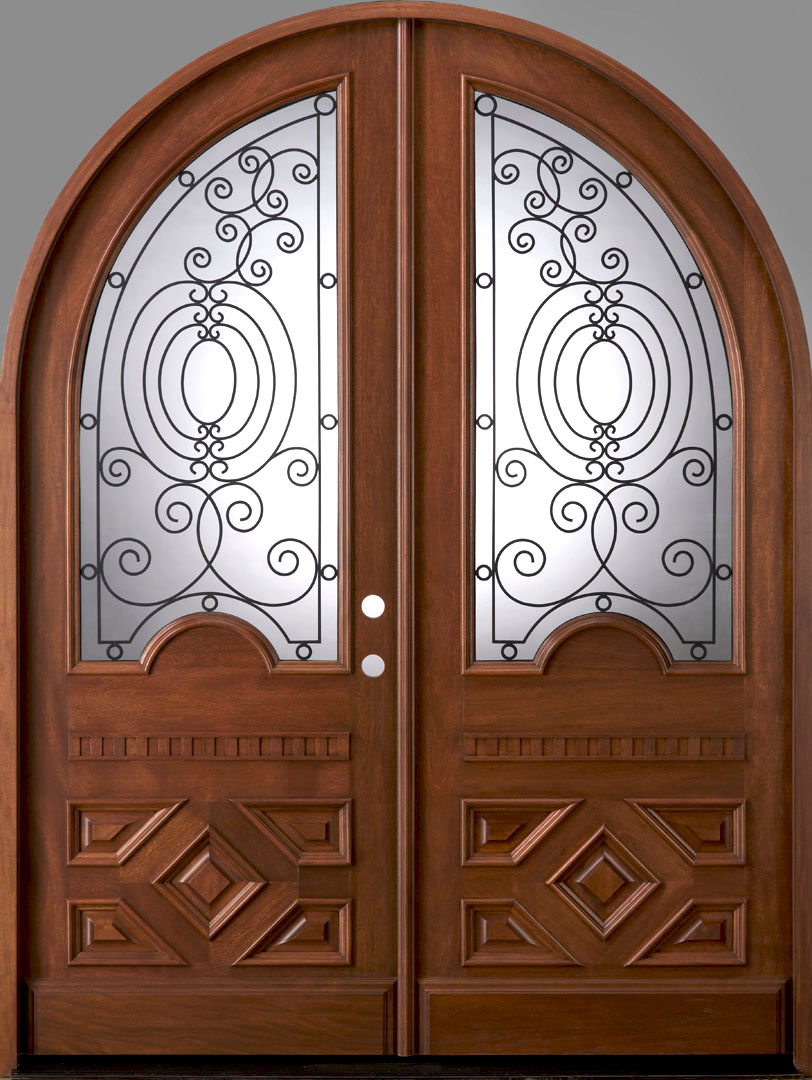 Radius double door solid mahogany double entry doors for Double wood doors with glass