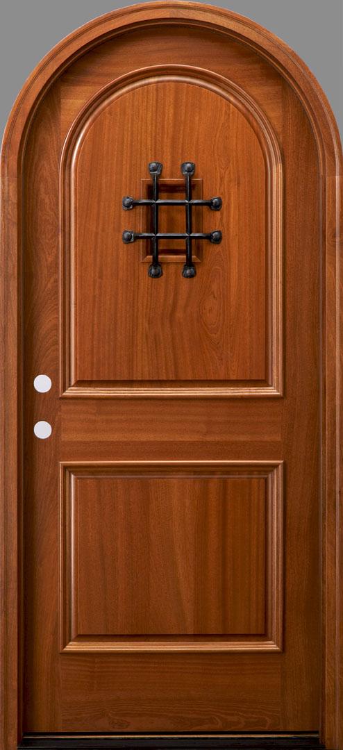 Rt2 speakeasy african mahogany door radius top door for Round door design