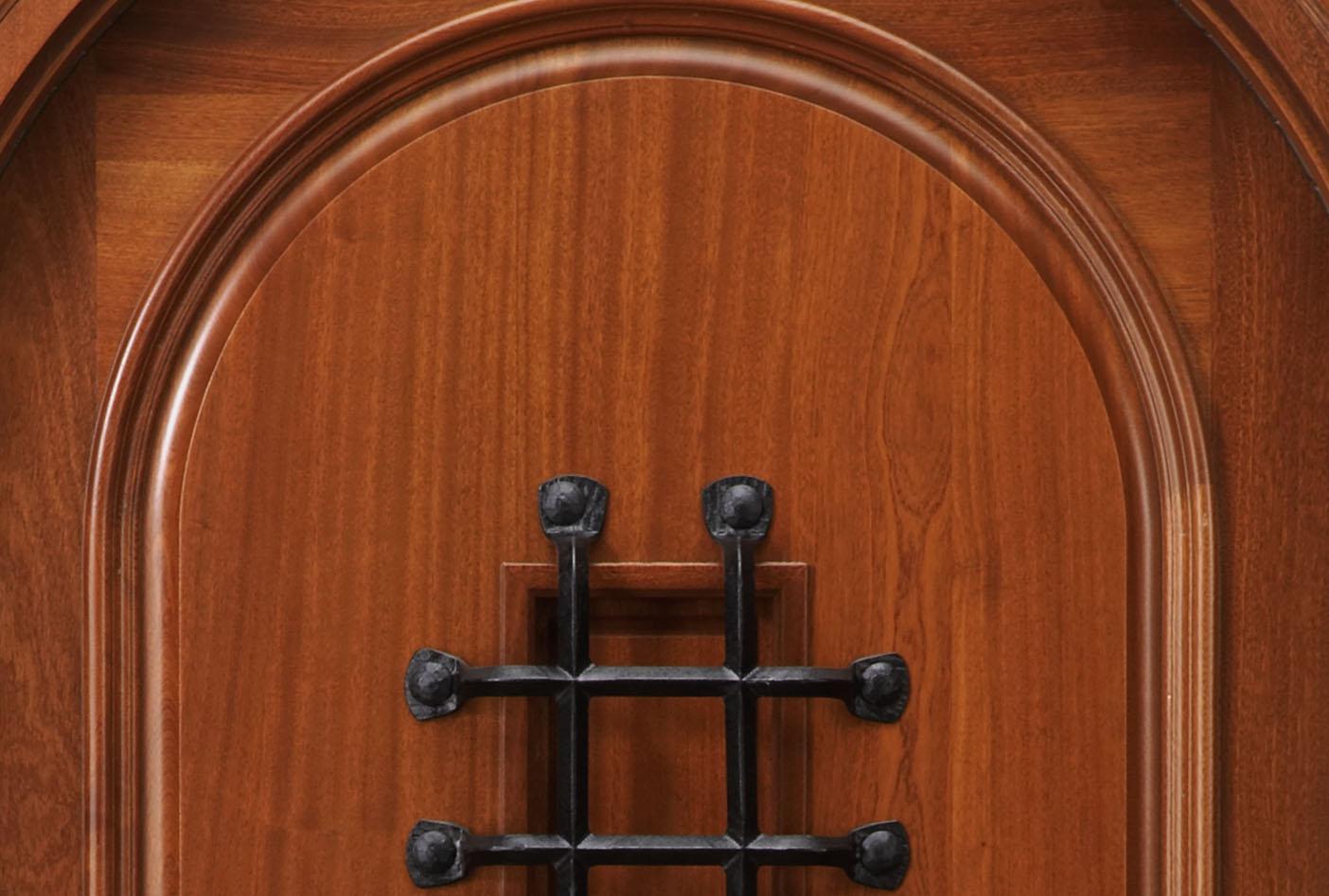 947 #833C1B RT2 Speakeasy African Mahogany Door Radius Top Door wallpaper Radius Top Entry Doors 38951404