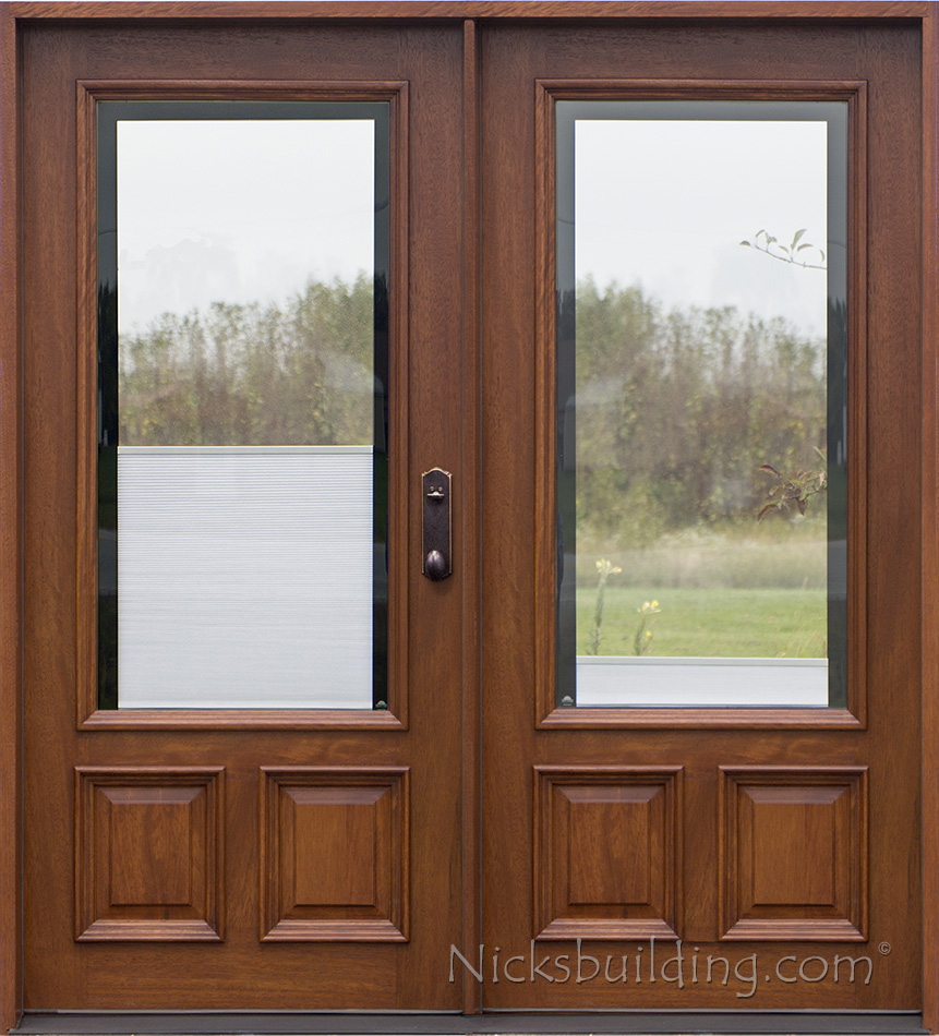 Double doors with shades between glass : door shades - Pezcame.Com
