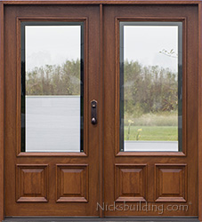 Double doors with shades between glass