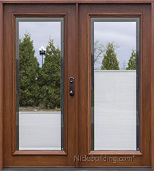 Patio doors with shades between the glass