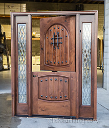 Exterior Knotty alder Dutch Door with sidelights