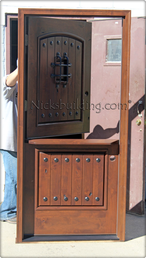 Arched Top Dutch Door With Shelf Rustic Exterior Doors