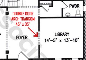 custom double doors with transom on blueprints