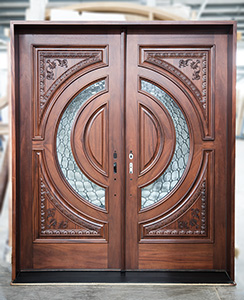 Custom Carved Tiffany Double Doors