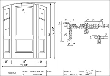 cad drawing for custom made arched top door