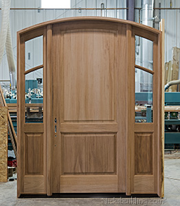 Custom Designed Exterior Door with Arched Top and Sidelights