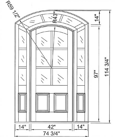 custom door cad drawing