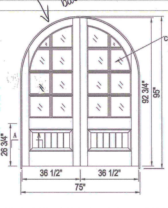custom door arched double door